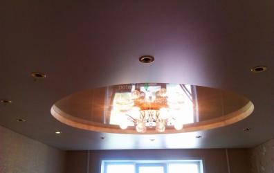 Двухуровневый потолок в форме круга - работы студии Потолок32