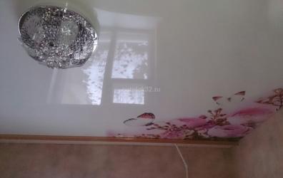 Глянцевый потолок с фотопечатью розовые цветы - работы студии Потолок32