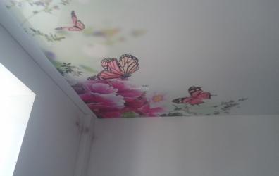 """фотопечать """"бабочки"""" на сатиновом потолке - работы студии Потолок32"""