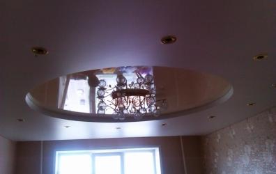 глянцевый потолок в форме круга - работы студии Потолок32