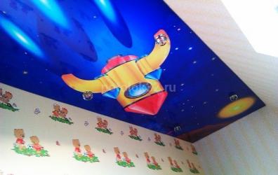 """Фотопечать """"ракета"""" на глянцевом потолке - работы студии Потолок32"""